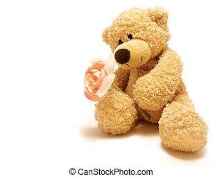 nounours-soutenir, donner, rose