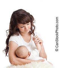 nourrisson, alimentation, elle, jeune, poitrine, mère