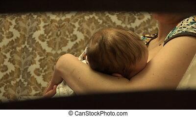 nourrisson, alimentation, elle, poitrine, mère, bébé, heureux