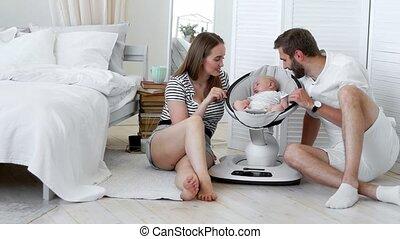 nourrisson, concept, regarder, apartment., haut, blanc, -,...