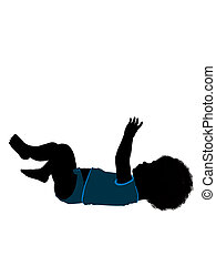 nourrisson, enfantqui commence à marcher, silhouette, illustration, américain, mâle africain