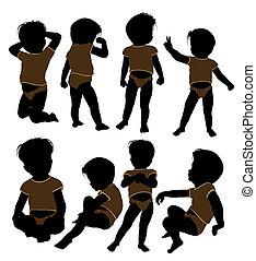 nourrisson, mâle, silhouette, enfantqui commence à marcher, ...