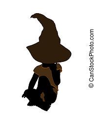nourrisson, mâle, silhouette, illustration, hallowen, ...