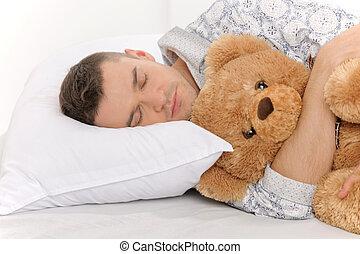 nourrisson, sien, adulte, teddy, grand ours, dormir, bear.,...