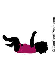 nourrisson, silhouette, illustration, américain, africain ...
