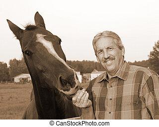 nourrit, cheval, paysan