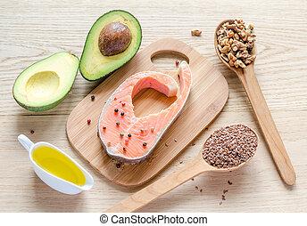 nourriture, à, insaturé, graisses