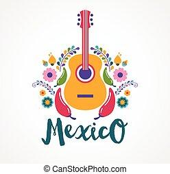 nourriture, éléments, musique, mexique