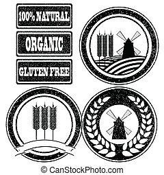 nourriture, étiquettes, collection, tampons, grain, céréale...