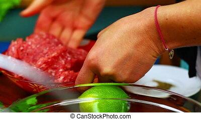 nourriture, 1, femme, préparer