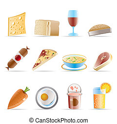 nourriture, 2, boisson, magasin, icônes