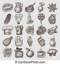 nourriture, 25, croquis, griffonnage, icônes