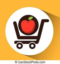 nourriture, achat, charrette, délicieux, pomme