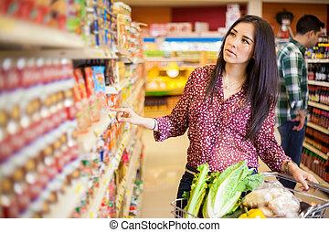 nourriture, achat, supermarché