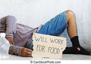 nourriture, affamé, mendiant