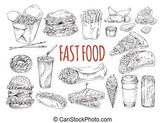 nourriture, affiche, jeûne, promotionnel, savoureux, monochrome