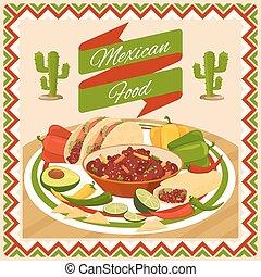 nourriture, affiche, mexicain