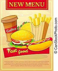 nourriture, affiche, vecteur, jeûne