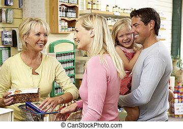nourriture, aide, ventes, santé, femme, magasin