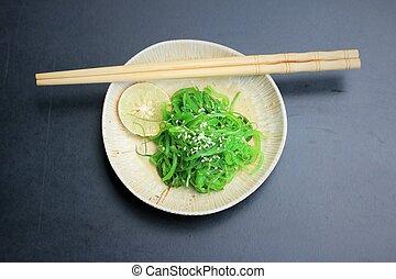 nourriture, -, algue, salade, japonaise
