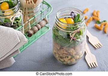 nourriture, aller, pot, salade