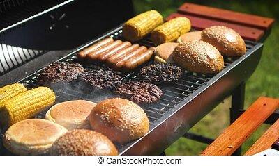 nourriture américaine, barbecue, mélangé, chaud, gril