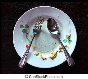 nourriture, après, arrière-plan noir, plat, vide