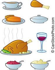 nourriture, articles, dîner, vacances