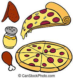 nourriture, articles, pizza