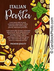 nourriture, assortiment, italien, patisserie, pâtes