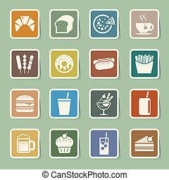 nourriture, autocollant, ensemble, jeûne, icône