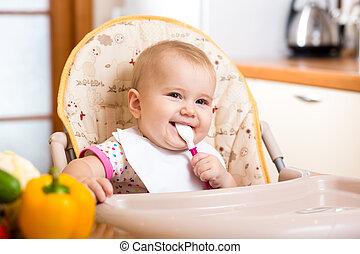 nourriture, bébé, sourire, manger, cuisine