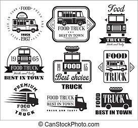 nourriture, badges., camion, icônes, emblèmes