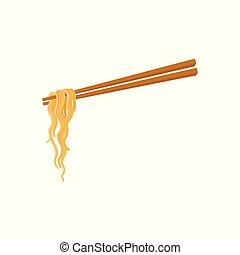 nourriture, baguettes, nouille, asiatique, chinois