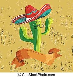 nourriture, bannière, cactus, mexicain