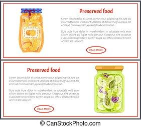 nourriture, bannières, concombres, oranges, conservé