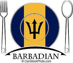 nourriture, barbadian, drapeau, fait, logo