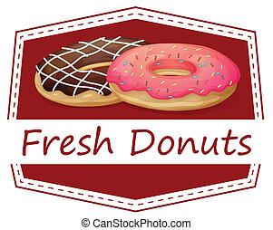 nourriture, beignets, frais, étiquette