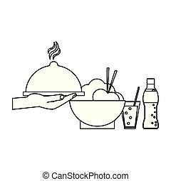 nourriture, blanc, concept, noir, délicieux