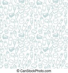 nourriture, bleu, seamless, icône, ligne, pattern.