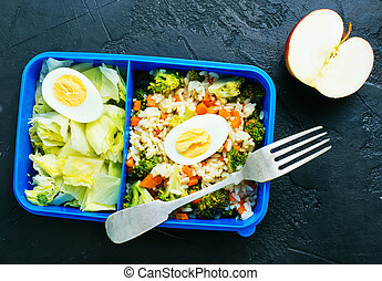 nourriture, boîte déjeuner