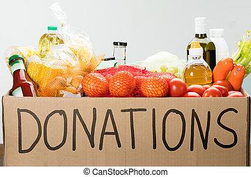 nourriture, boîte, donation