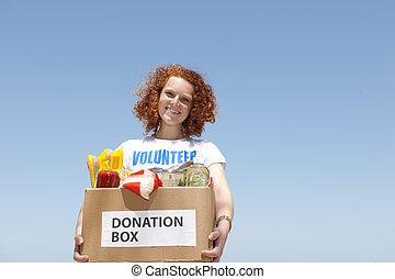 nourriture, boîte, donation, porter, volontaire