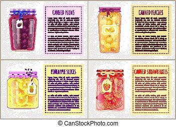 nourriture boîte, prune, illustration, vecteur, ananas