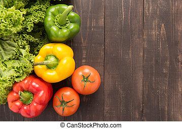 nourriture, bois, légumes, organique, arrière-plan., ...