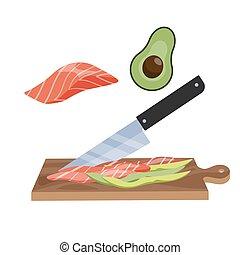 nourriture, bois, planche découper, couteau aigu