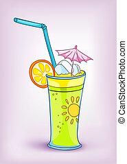 nourriture, boisson, dessin animé, cocktail