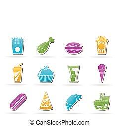 nourriture, boisson, jeûne, icônes