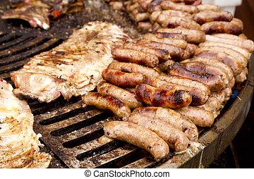 nourriture, côtes, saucisse, malsain, grillé