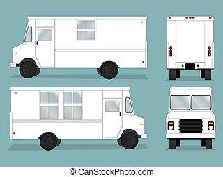 nourriture, camion, gabarit